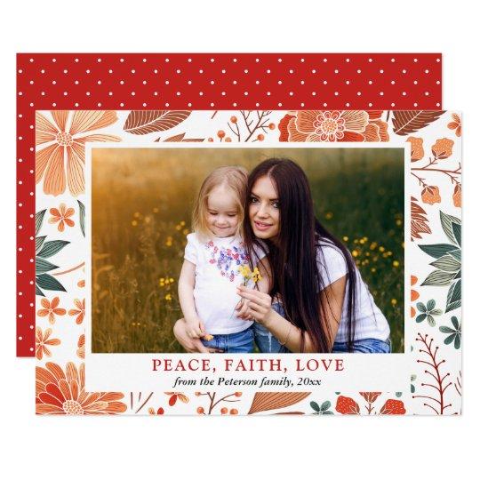 Foto de familia estacional del saludo del amor de invitación 12,7 x 17,8 cm