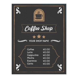 Foto de la cafetería y tarjeta retras del menú del