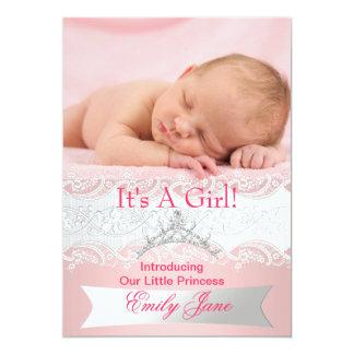 Foto de la invitación de la niña de princesa Pink