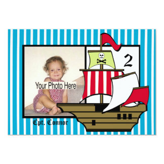 Foto de la nave del cumpleaños del pirata invitación 12,7 x 17,8 cm