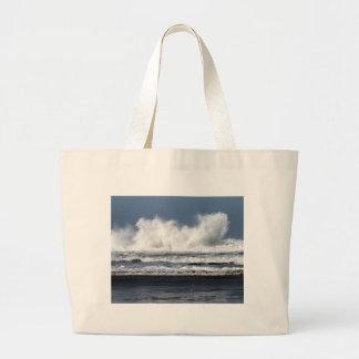 Foto de la playa impresa en la bolsa de asas