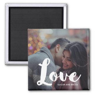 Imán Foto de la tipografía del amor e imán de los