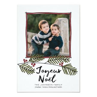 Foto de las Felices Navidad con las ramas de árbol Invitación 12,7 X 17,8 Cm