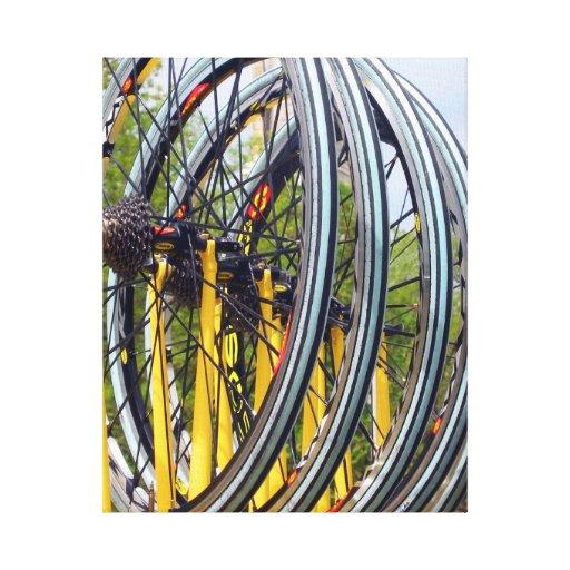 Foto de las ruedas de bicicleta impresión en lienzo estirada