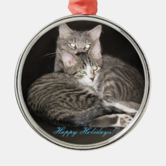 Foto de los gatitos adorno navideño redondo de metal