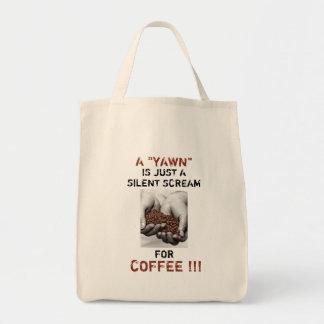Foto de los granos de café con el texto adaptable bolso de tela