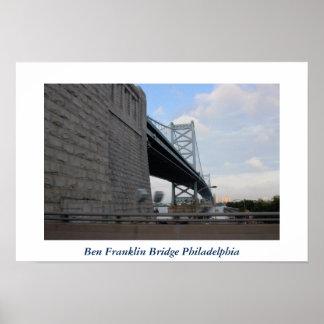 Foto de Philadelphia del puente de Ben Franklin Póster