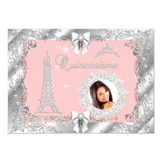 Foto de plata 2 de princesa Pink PEACH Quinceanera Invitación 12,7 X 17,8 Cm