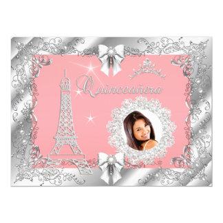 Foto de plata de princesa Pink PEACH Quinceanera Invitación 16,5 X 22,2 Cm