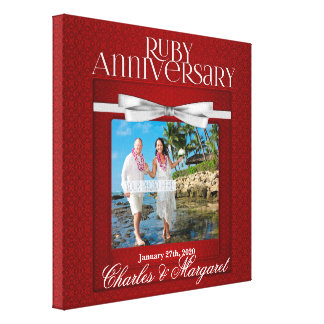 foto de rubíes del personalizado del aniversario lienzo