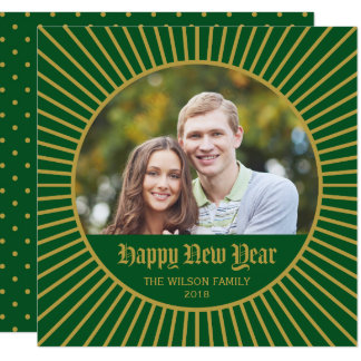 Foto decorativa clásica verde de la Feliz Año Invitación 13,3 Cm X 13,3cm