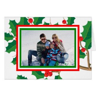 Foto del acebo - tarjeta de Navidad doblada
