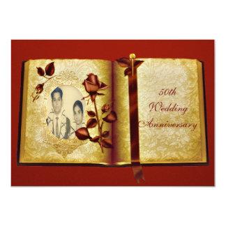 Foto del aniversario de boda del libro 50.o del invitación 11,4 x 15,8 cm