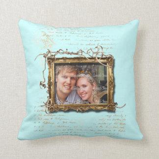 Foto del aniversario de boda del marrón azul cojín decorativo