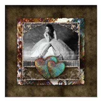Foto del ante del vintage del dulce 16 del invitación 13,3 cm x 13,3cm