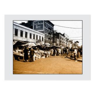 Foto del arte del vintage: 1940 mercados postal