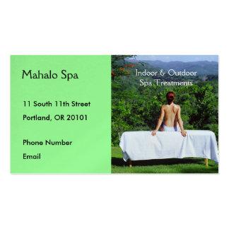 Foto del balneario de la tabla al aire libre del tarjetas de visita