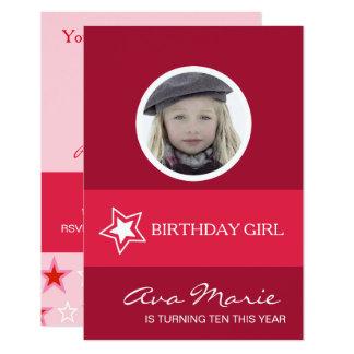 Foto del chica del cumpleaños de la estrella invitación 8,9 x 12,7 cm