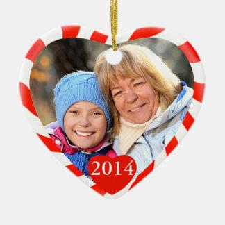 Foto del corazón del navidad de la hierbabuena adorno navideño de cerámica en forma de corazón