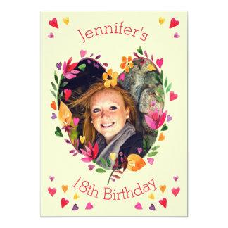 Foto del cumpleaños de la guirnalda floral del invitación 12,7 x 17,8 cm