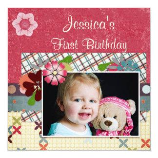 Foto del cumpleaños de los chicas del estilo del invitación 13,3 cm x 13,3cm