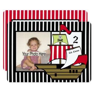 Foto del cumpleaños del barco pirata invitación 11,4 x 15,8 cm