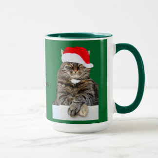 Foto del embaucamiento del gato del navidad con el taza