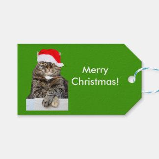 Foto del gato del navidad en etiqueta del regalo