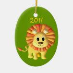 Foto del león del bebé ornamento para arbol de navidad
