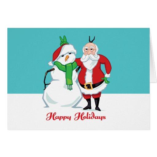 Foto del muñeco de nieve de Santa Tarjeta De Felicitación