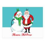 Foto del muñeco de nieve de Santa Tarjetas Postales