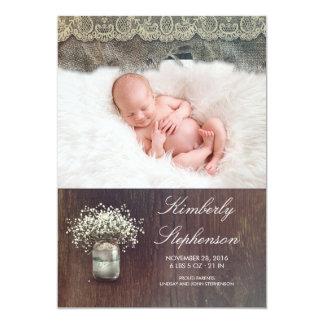 Foto del nacimiento del bebé del tarro de albañil invitación 12,7 x 17,8 cm