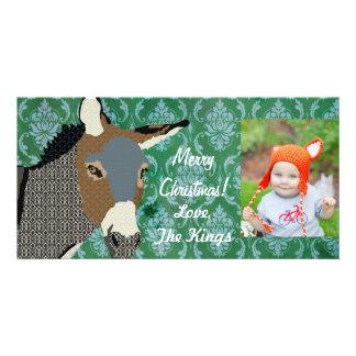 Foto del navidad del burro del gris tarjetas fotográficas personalizadas
