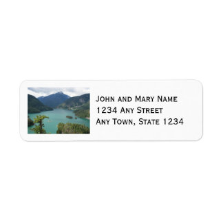 Foto del norte del lago diablo de las cascadas etiqueta de remite