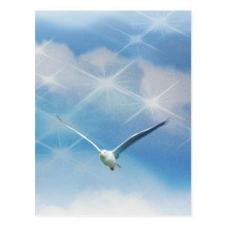 Foto del pájaro de la gaviota en vuelo postal