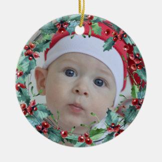 Foto del personalizado de la guirnalda del navidad adorno navideño redondo de cerámica