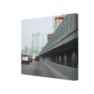 Foto del puente de Ben Franklin Impresión En Lienzo