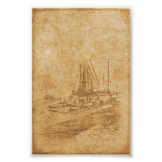 Foto Dibujo del club náutico en estilo del vintage