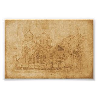Foto Dibujo del vintage de la iglesia