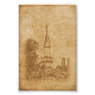 Foto Dibujo del vintage de la mezquita de Juma-Jami
