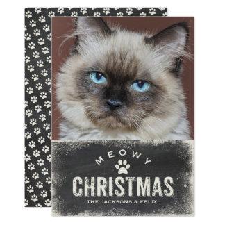 Foto divertida del gato del día de fiesta del invitación 12,7 x 17,8 cm