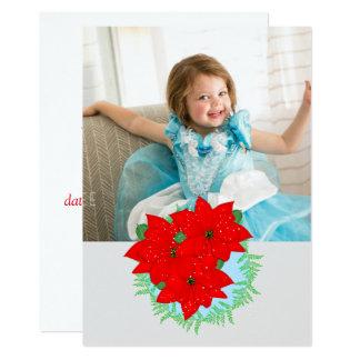 Foto Editable del Poinsettia rojo de las flores Invitación 12,7 X 17,8 Cm