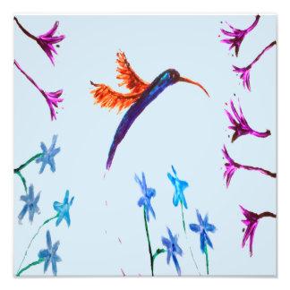 Foto El colibrí florece arte floral del pájaro