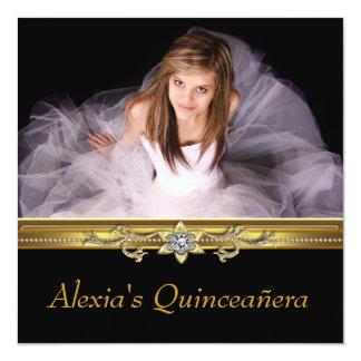 Foto elegante Quinceanera del negro y del oro Invitación 13,3 Cm X 13,3cm