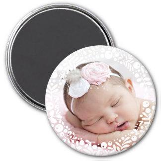Foto enmarcada baya blanca del bebé imán