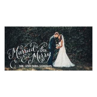 Foto feliz casada y feliz del día de fiesta tarjetas fotograficas personalizadas