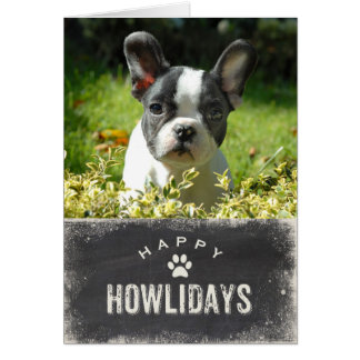 Foto feliz divertida del navidad del perro de tarjeta de felicitación