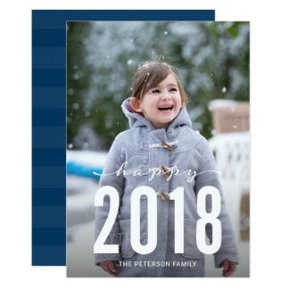 Foto feliz moderna azul del día de fiesta del Año Invitación 12,7 X 17,8 Cm