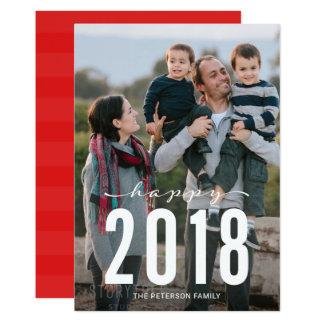 Foto feliz moderna roja del día de fiesta del Año Invitación 12,7 X 17,8 Cm
