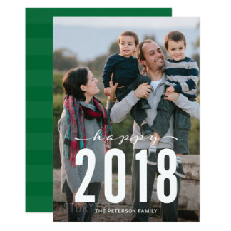 Foto feliz moderna verde del día de fiesta del Año Invitación 12,7 X 17,8 Cm
